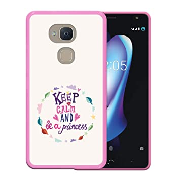WoowCase Funda Bq Aquaris V, [Bq Aquaris V ] Funda Silicona Gel Flexible Keep Calm and Be a Princess, Carcasa Case TPU Silicona - Rosa