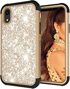 Muntonski I Xr Phone Case Compatible with iPhone X R Cover Bling Glitter Skin Girly Luxury Coque Sparkly Bumper Shell Protective Cases Xphone 10r Rx 6.1 Inch (Gold)