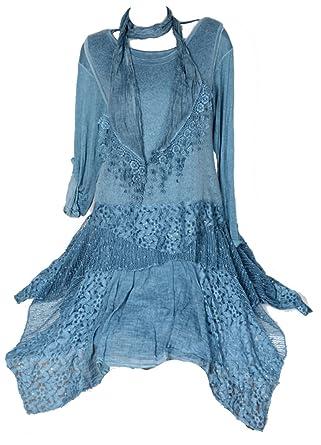 Damen Winter Twinset 3tlg Lagenlook Tunika Kleid Strickkleid