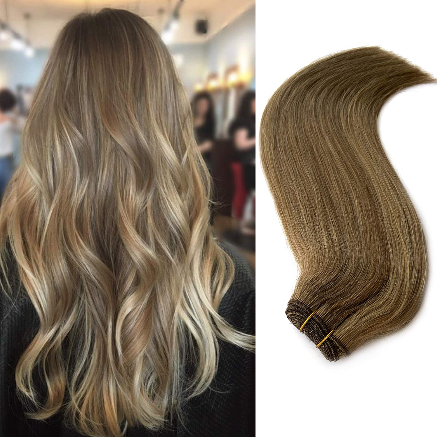 Human Hair Weft Sew in Hair Extensions Light Brown to Beige/Ash Blonde  Highlights Brazilian Virgin Straight Human Hair Hand Tied Weave Extensions  Sew ...