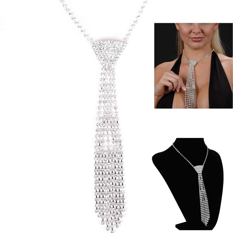 Silver Sexy Crystal Rhinestone Small Necktie Wedding Necklace with Deco Pattern (Tassel Style)