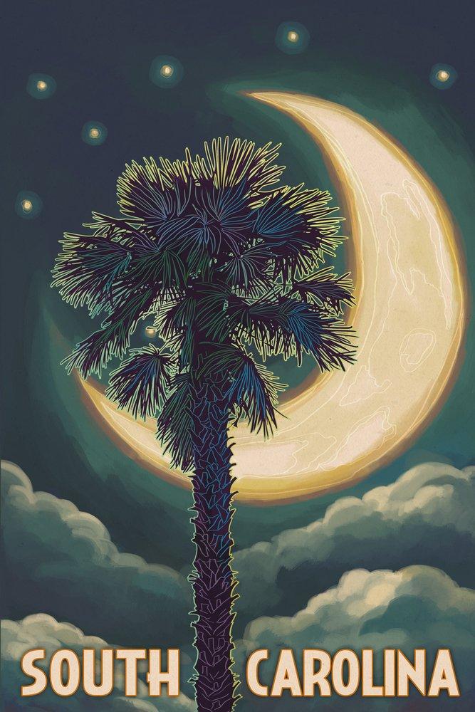 South Carolina – Palmetto月と手のひら 36 x 54 Giclee Print LANT-50105-36x54 36 x 54 Giclee Print  B017E9ZJT6