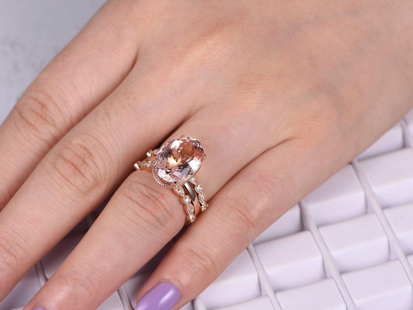 Oval Morganite Engagement Ring Set Pave Diamond Wedding 14K Rose Gold 10x14mm