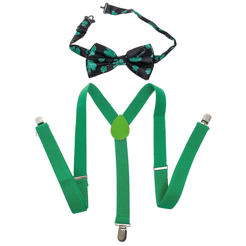 Buckletown Mens Suspender /& Bow Tie Combo Pack Green//Shamrock