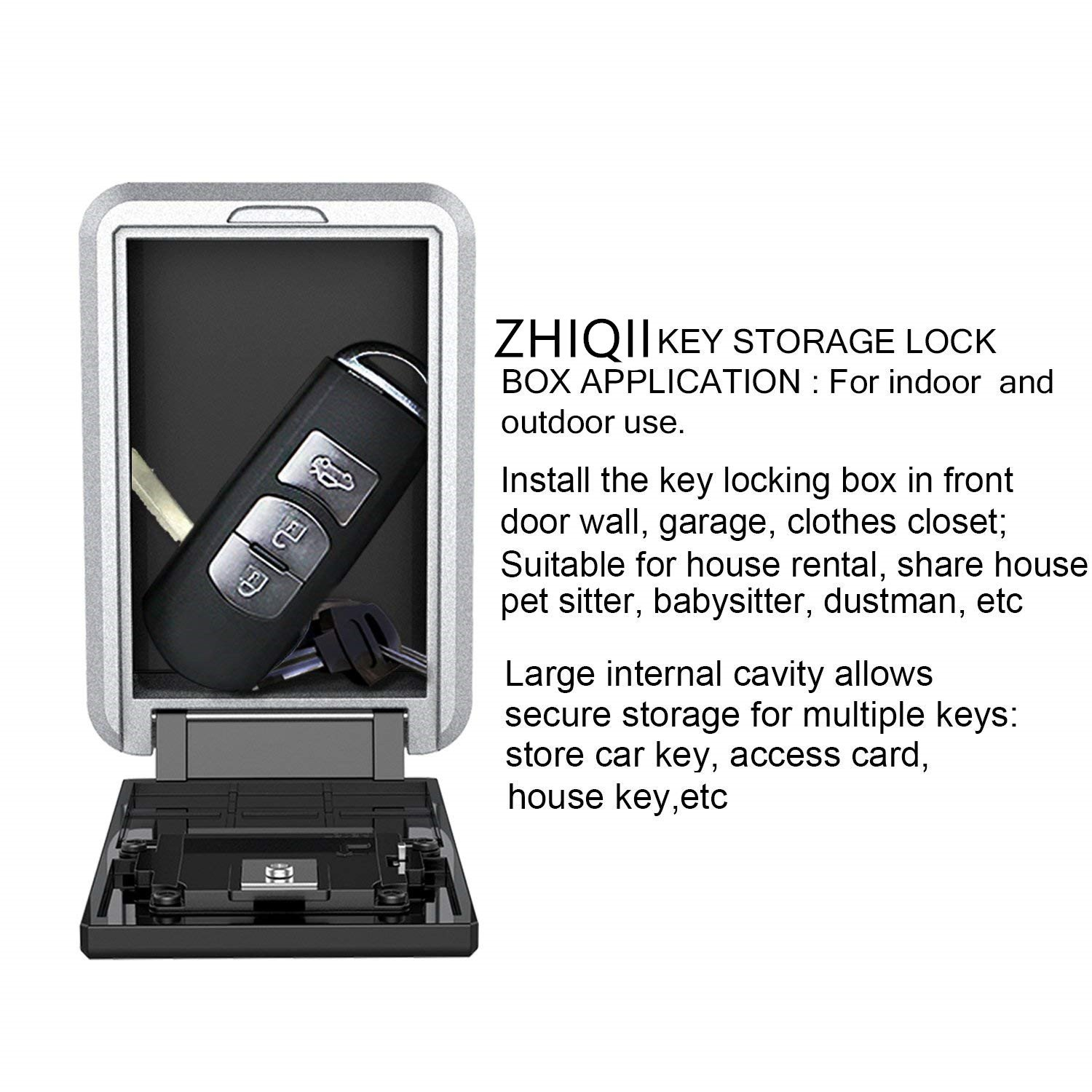 Hide Key Safe Lock Box ZHIQII Wall Mount Push Button Lock Stores up to 6 Keys on doorknob 4 Digit Combination Exterior Outdoor Waterproof Secure Box Keys Holder for Home/House use Key Storage Lockbox by ZHIQII (Image #7)