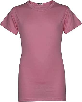 Kids Girls T Shirts Designer 100% Cotton Plain School T-Shirt Top New Age 2-13Yr