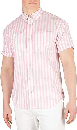Scotch & Soda de los Hombres Camisa de Rayas de Manga Corta, Rosado, S: Amazon.es: Ropa y accesorios