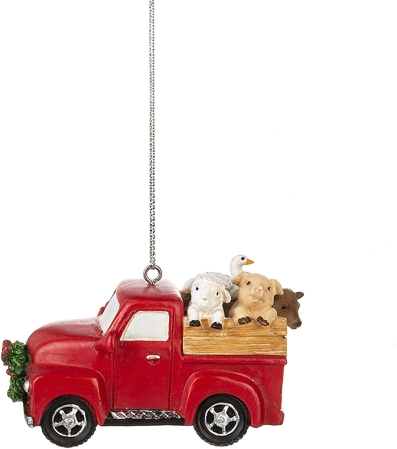 Vintage Red Truck 2 inch Resin Decorative Christmas Ornament