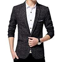 Men`s Linen Stylish Blazer Light Weight One Button Slim Fit Smart Formal Suits Jacket