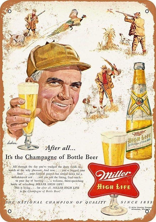 Miller High Life Brew Beer Vintage Shield Retro Logo Bar Wall Decor Metal Sign