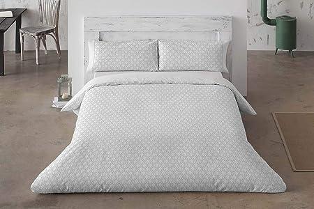 Burrito Blanco Juego de Funda Nórdica 311 de algodón 200 Hilos con un Diseño Geométrico para Cama Individual de 90x190 hasta 90x200 cm, Color Gris: Amazon.es: Hogar
