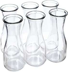 12 oz (350 ml) Glass Carafe Beverage Bottles, 6-pack - Water Pitchers, Wine Decanters, Mixed Drinks, Mimosas, Centerpieces, Arts & Crafts - Restaurant, Catering, Party, Home Kitchen Supplies
