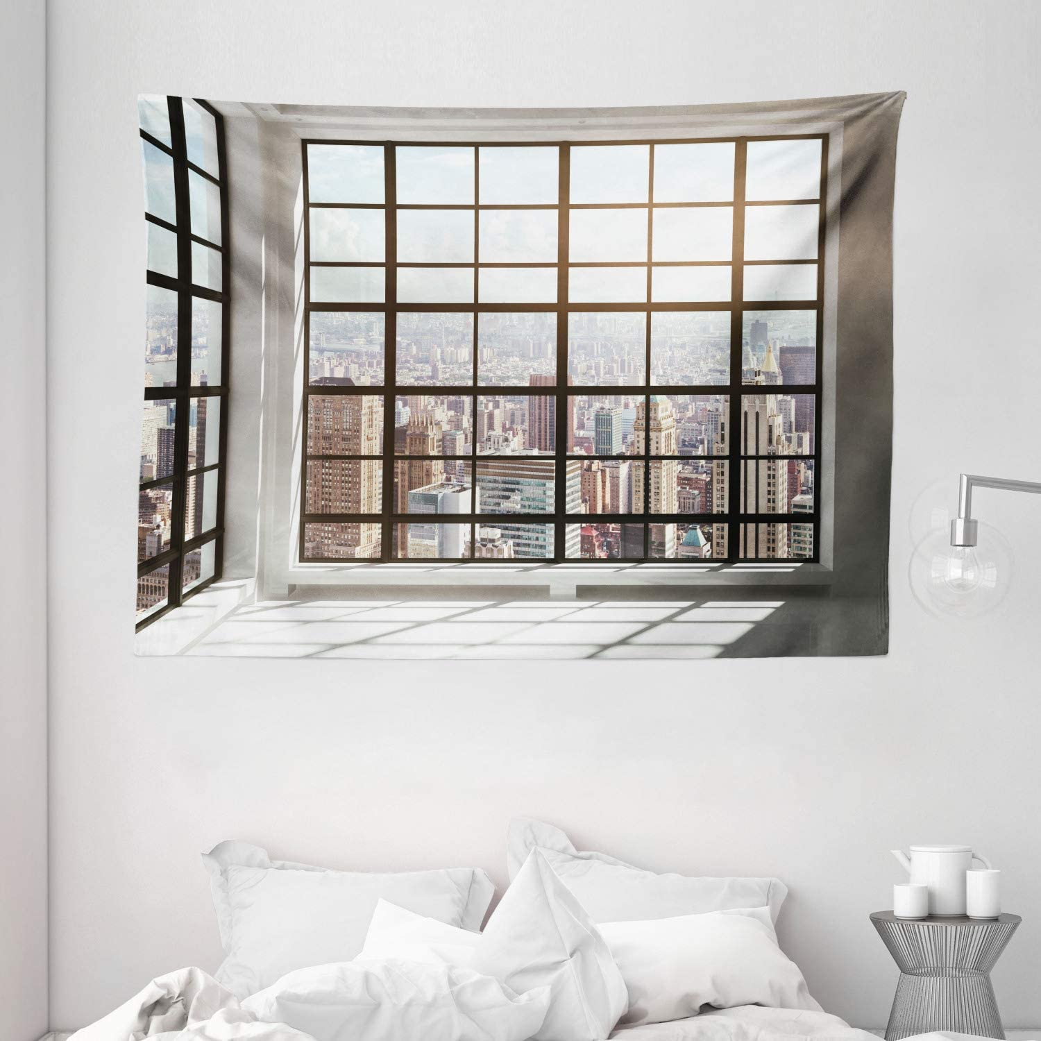 "Ambesonne Modern Tapestry, Urban City View of Apartments from Square Shape Windows Photograph, Wide Wall Hanging for Bedroom Living Room Dorm, 80"" X 60"", Brown White"