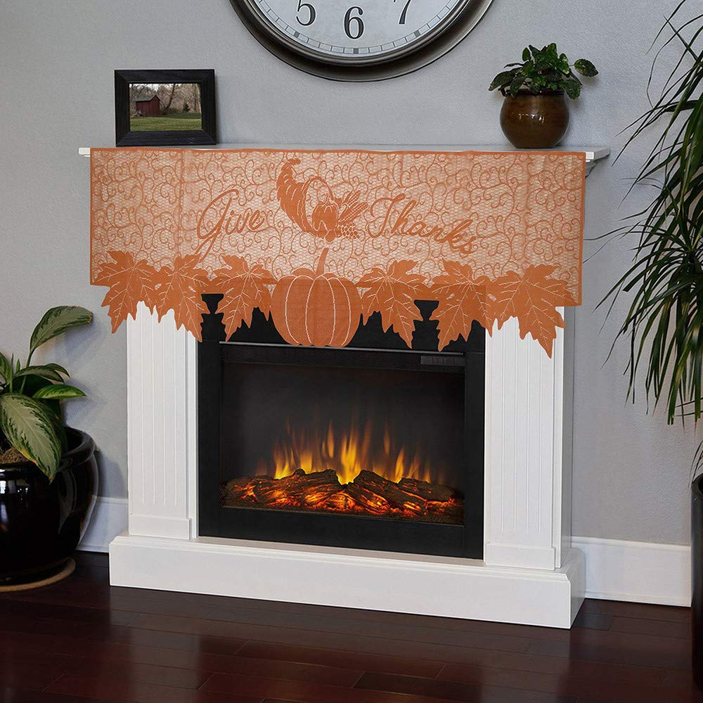 Gaddrt Pumpkin Lace Table Toppers Fireplace Cloth Pumpkin Maple Leaf Orange Spice Fall Thanksgiving (59.85''x20.08'')