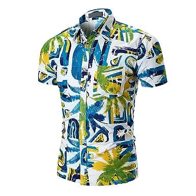 698569596c0a ZKOOO Homme Chemise a Manches Courtes Eté Imprimé Chemises de Plage Loisir  Shirt Tops