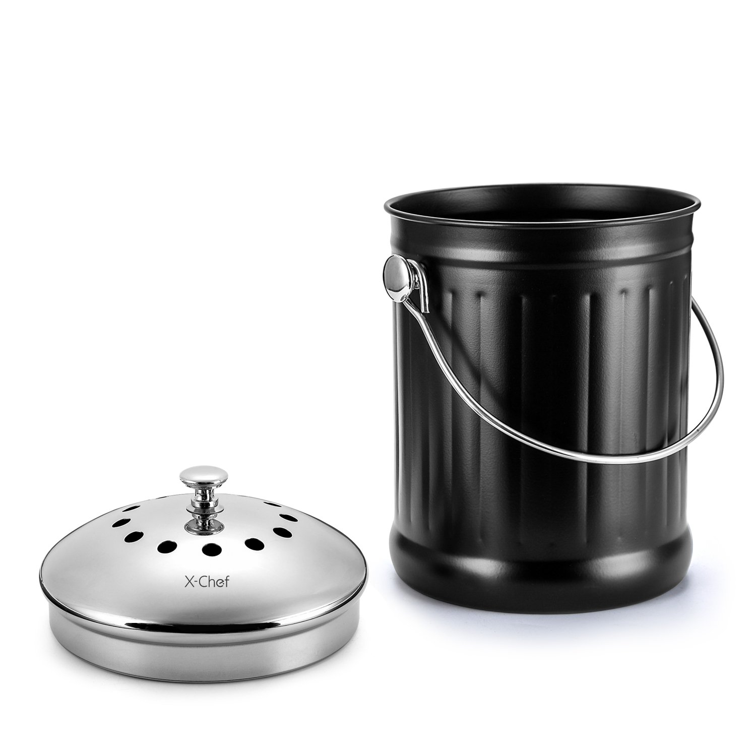 Amazon.com: Kitchen Compost Bin, X Chef Stainless Waste Bin With Cover  Trash Can 1.2 Gallon Double Filter: Kitchen U0026 Dining