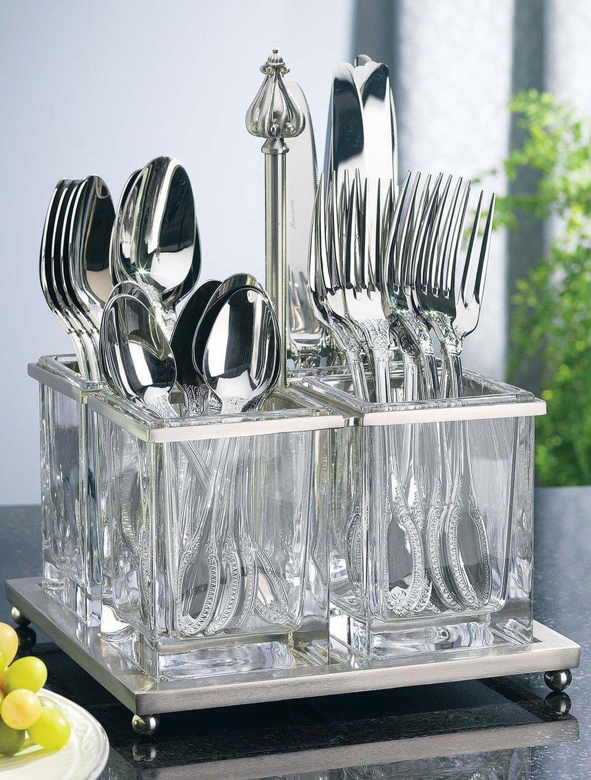 METAL AND GLASS FLATWARE CADDY Godinger Silver Art 400885