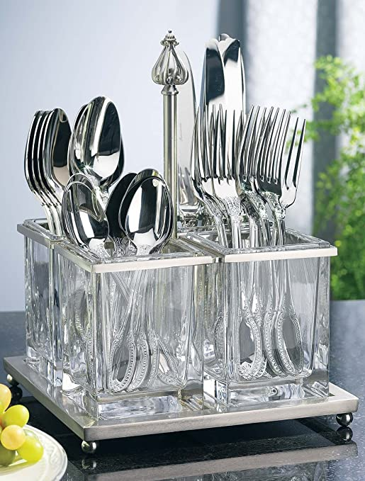 Metal And Glass Flatware Caddy by Godinger