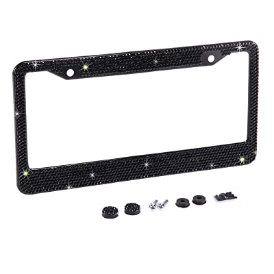 Neobling Fashion Waterproof Classic Black Bling Crystal License Plate Frame Luxury Rhinestone Premium Stainless Steel Car/Truck/SUV License Plate Holder for Women(1 Frame): Automotive