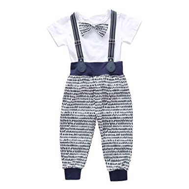 0a2fc614d Baby Boy Suit White Bow Tie T-Shirt Top and Suspender Long Pants Newborn  Infant 2 Pieces Clothes Set for Wedding Birthday Party: Amazon.co.uk:  Clothing