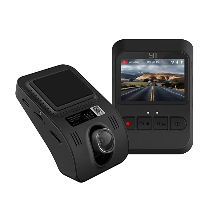 """YI Mini Dash Cam, 1080p FHD Dashboard Video Recorder, Mobile APP, Car  Camera with 140 Degree Wide-Angle Lens, Night Vision, G-Sensor, 2"""" LCD  Screen,"""