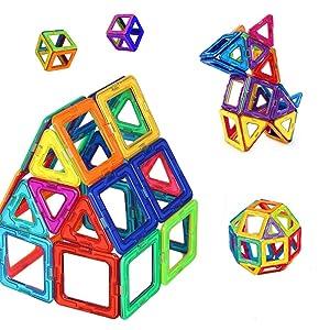 Mini Butterballe 40 Pcs Magnetic Building Blocks Tile Set, STEM Educational Learninig Toys for Kids, Magnet Stacking Blocks Preschool Construction Kits for Toddler