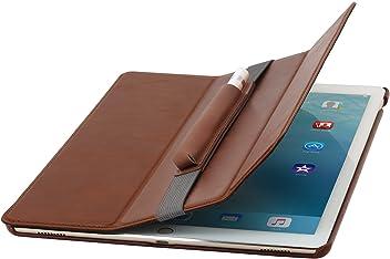 "StilGut Couverture Case, Custodia in Pelle Vera per Il Apple iPad PRO 12.9"" 2015, Cognac Marrone"