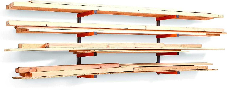 Bora Portamate PBR-004 Wood Organizer /& Lumber Storage Metal Rack with 4-Level Wall Mount Indoor /& Outdoor Use Renewed