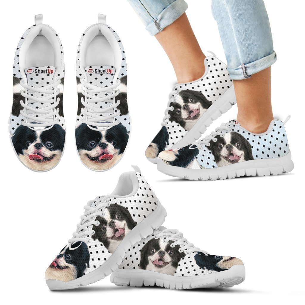 Luto Home Japanese Chin Black Dots Print Running Shoes for Kids-Casual Comfortable Sneakers Running Shoes