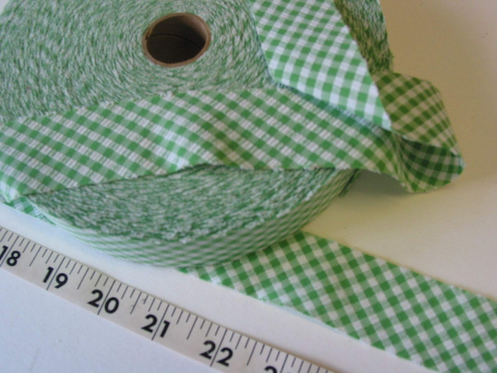Trim Bias Binding Unfolded Checked Seersucker Green 1 3/8 W 1 Roll by Gonling