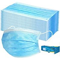 50 Pieces Disposable 3-ply Protection Face Cover Dust-proof Dust Waterproof Cover, High Filtration and Ventilation Security