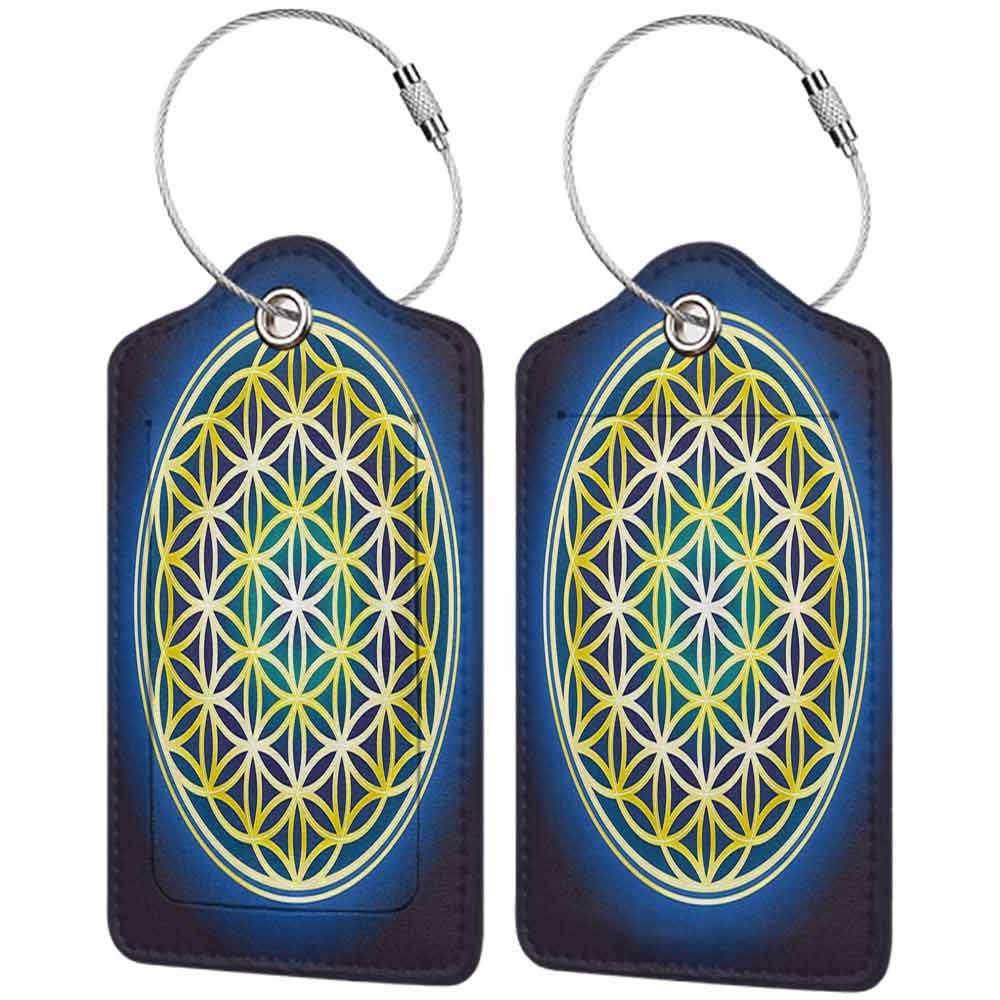 Modern luggage tag Abstract Nature Spirals Flower of Life Artistic Energy Sacred Illustration Suitable for children and adults Indigo Violet Blue Yellow W2.7 x L4.6