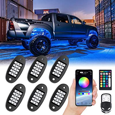 MustWin RGB LED Rock Lights, 90 LEDs Multicolor Neon Underglow Waterproof Music Lighting Kit with APP & RF Control for Jeep Off Road Truck Car ATV SUV Motorcycle(6 Pods)-SHIP FROM AMERICA: Automotive