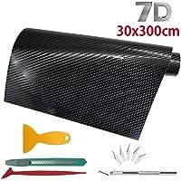 Keyzone 5 Pieces Car Sticker Car Film Vinyl Wrap 7D Black Carbon Fiber 300 * 30cm with Hand Tools Decoration…