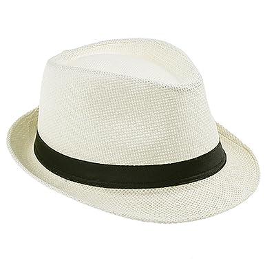 ef9f86322f9bb HCIUUI Fashion 100% Handwork Child Summer Straw Sun Hat Boy Boho Beach  Fedora Hat Sunhat Trilby Girl Panama Hat Cap 25 Cream  Amazon.co.uk   Clothing