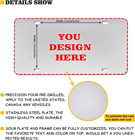 HUGS IDEA Customized Personality License Plate Custom Your Own Image Name Text Design Car Front Metal License Plate for Women Men Gifts