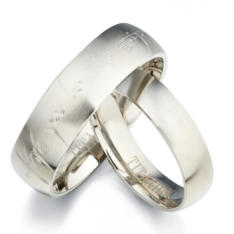 gemini personalized elvish tengwar matt his her matte matching titanium wedding rings set uk size h to z6 amazoncouk jewellery - Titanium Wedding Rings For Her