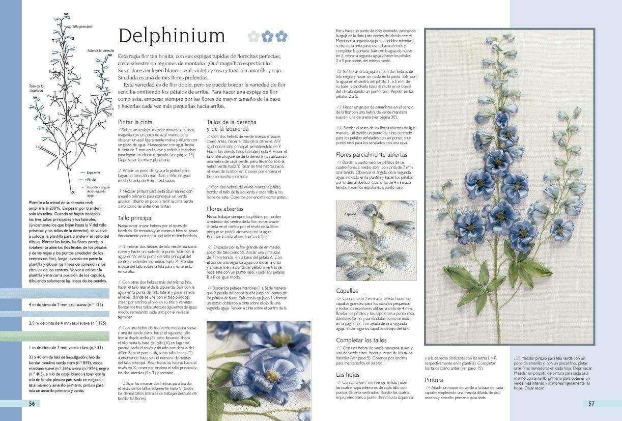 Bordar flores con cintas de seda / A-Z of Silk ribbons flowers: 32 proyectos explicados paso a paso y con gráficos en color / 32 Projects Explained Step by ...