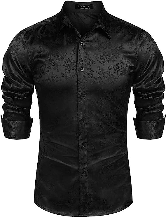 Camisas de manga larga para hombre, diseño de rosas