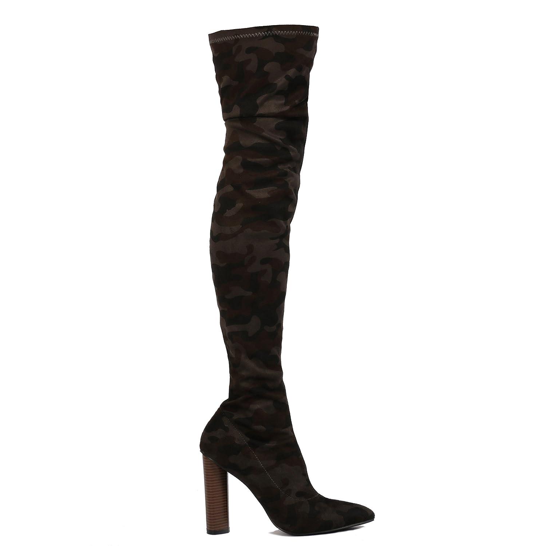 3f9c4899e41 Womens Zip Over The Knee High Block Heels Long Boots Khaki Camo UK 8   Amazon.co.uk  Shoes   Bags