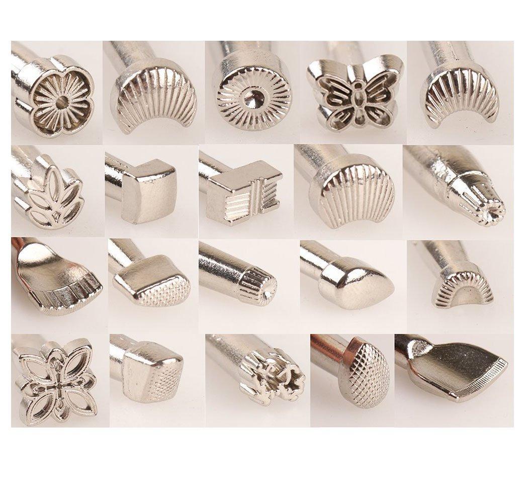 Super44day 20 Piezas Kits de Repujado de Cuero Herramientas de Cuero Punz/ón para Estampado Trabajo Grabaci/ón Sellos Hacer una obra de Escultura Bricolaje de Cuero Piel PU Manualidad Patchwork Leathercraft Tools