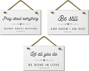 Marvin Gardens Designs Farmhouse Style Bible Verse Wall Decor Wood Sign Bundle 9.5 x 5.5 Inch Wood Made in the USA
