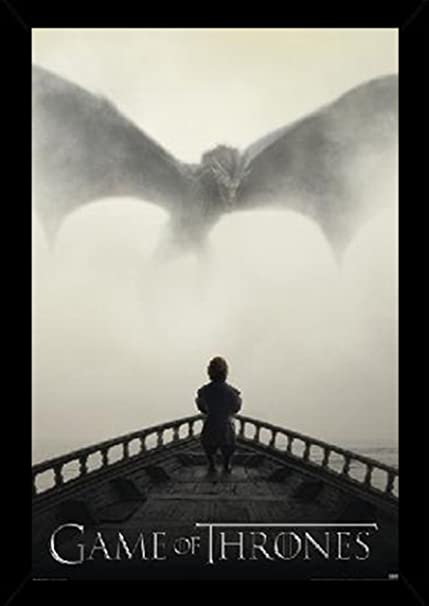 Amazon.com: Game of Thrones - Lion & Dragon Poster in a Black Wood ...