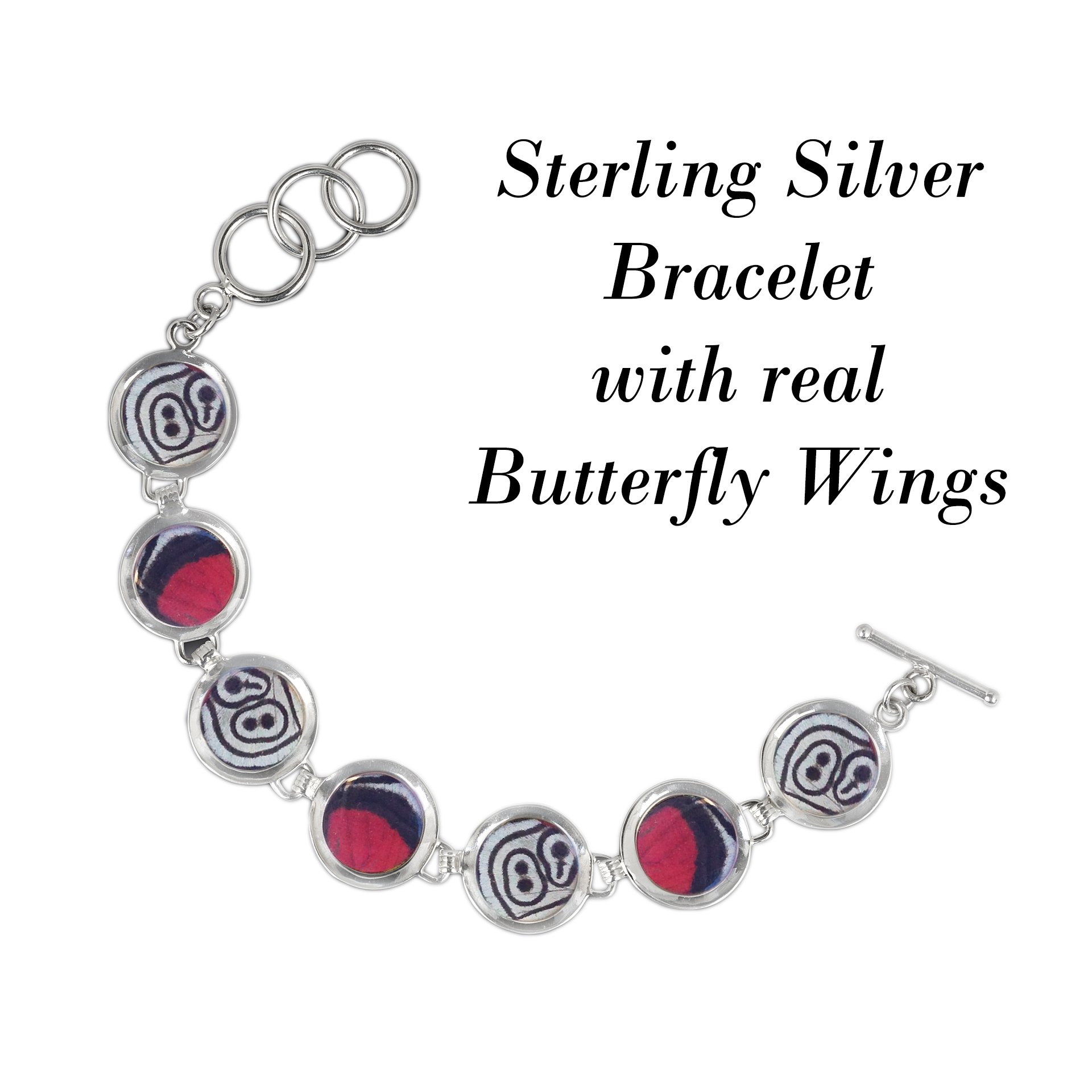 Real Butterfly Sterling Silver Bracelet - Natural, Colorful, Recycled, Sustainable, Bold, Red