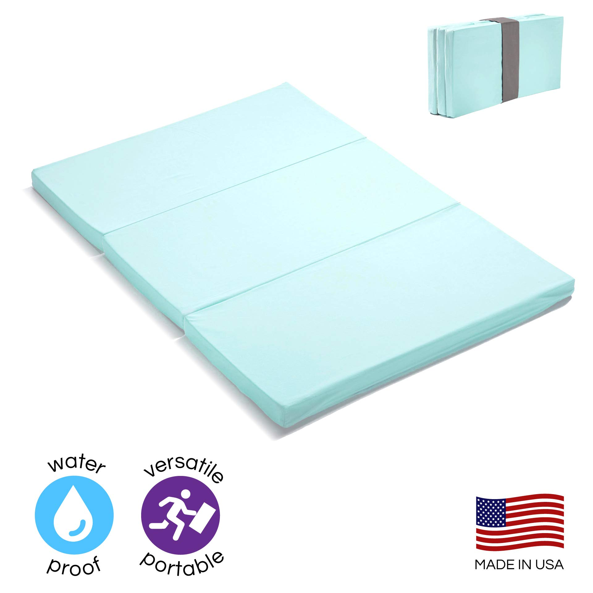 MamaDoo Kids Waterproof Smart Pack n Play Mattress Topper | Foldable Portable Pack and Play Mat | Includes Travel & Storage Bag | Aqua