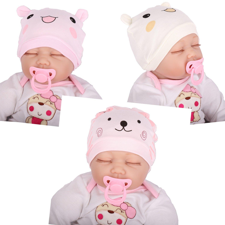 Tyidalin Lot de 3 Bonnet de Naissance Nouveau Né en Coton pour 0-6 Mois Bébé  Fille Garçon 7fdacc74c99