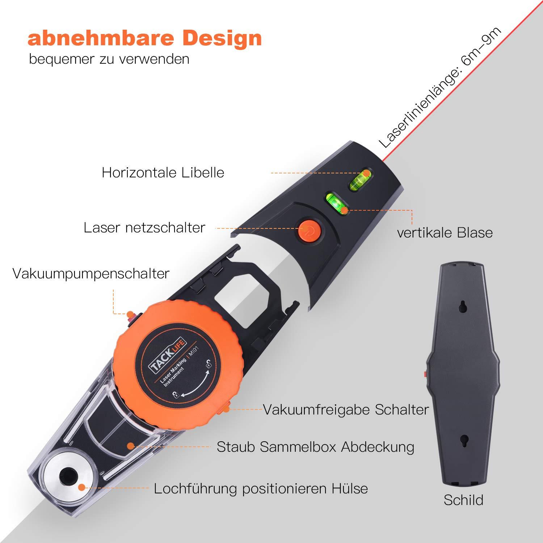 Ligne laser Tacklife MI01 Niveau /à bulle laser avec pompe /à vide et positionnement perforateur et collecteur de poussi/ère amovible Laser Level Peut /être fix/é au mur lisse