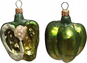 Pinnacle Peak Trading Company Half of a Green Bell Pepper Polish Glass Christmas Ornament Set of 2 Decorations
