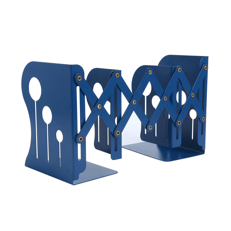 Homend Heavy Duty Bookends Metal Iron Adjustable Books Holder Stand Desk Nonskid Bookend (Black, Medium)