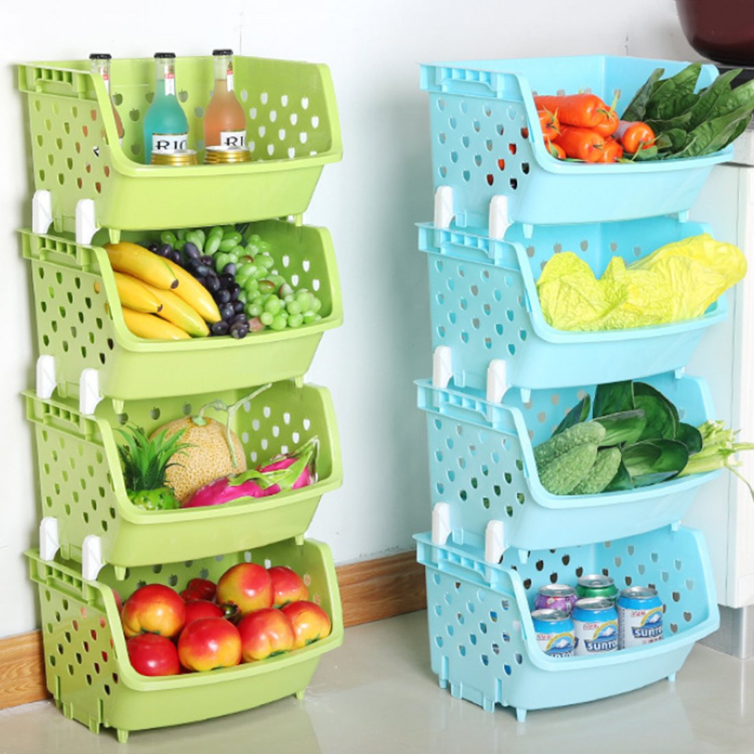 Amazon.com: 4Pack Market Baskets YIFAN Storage Basket Stacking ...